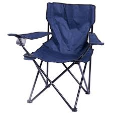 PLAYBERG Portable Folding Outdoor Camping Chair With Can Holder, Navy