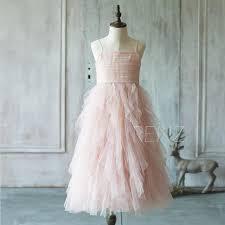 2015 junior bridesmaid dress spaghetti strap blush pink flower