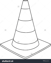 traffic cone clipart outline 9