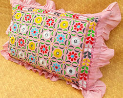 Floor Cushion Handem Embroidered Large Pillow Case Textile Vintage Banjara Ethnic 70s Hippie Boho Tribal Bedroom