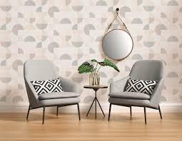 geometrische mustertapete im scandinavian style grau rosa beige