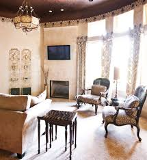 Fair Decorating Ideas Using Brown Loose Curtains And Rectangle Wooden Tables Also With Oval