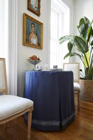 A Blue Skirted Table Serves As The Main Dining Space Which Could Be Pulled Out