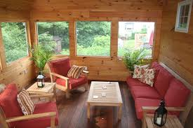 Knotty Pine Walls Sunroom Rustic With Container Plants Deck Decorative