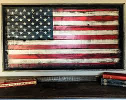 Wood American Flag Wall Art Rustic US