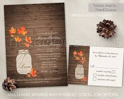 Rustic Fall Wedding Invitation Set Leaves By NotedOccasions Invitations Mason