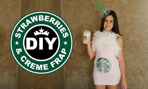 DIY Easy Halloween Costume Starbucks Strawberries Creme Frappucino