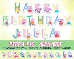Peppa Pig Alphabet Clipart Birthday Banner