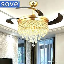 Retractable Ceiling Light Fixtures Remote Control Fixture Modern Luxury Folding Fan Crystal Led Lamp Co