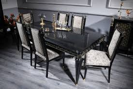 casa padrino luxury baroque dining set silver gray black gold 1 dining table and 6 dining chairs dining room furniture in baroque style