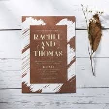 Rustic Brown Craft Hot Foil Stamped In Gold Script White Brush Stroke Background