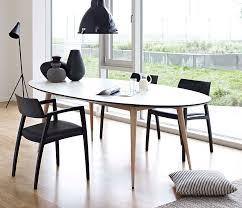 Modern Swedish Oval Oak Kitchen Table And Black Minimalist For