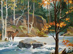 VINTAGE WOODLAND WONDERLAND BiG Autumn Scene 1960s Paint By Numbers Art Work Landscape Vintage