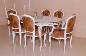 barock esszimmer garnitur louis xv 1 tisch mit 6 stühlen antik weiß mit gold dekor