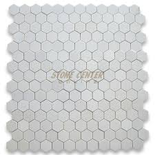 thassos white 3 inch hexagon mosaic tile polished marble from