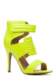 neon yellow faux leather quilted single sole heels cicihot heel