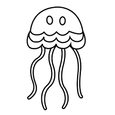 Jellyfish Simple Cartoon Coloring Page