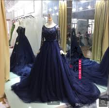 real navy blue wedding dresses 2017 fashion ball gown long sleeve