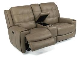 darrin leather reclining sofa with console black design ideas 44