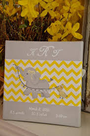 Birth Announcement Art Nursery Canvas Elephant By GiggleandCoo 3499