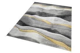 teppich modern teppich wohnzimmer mit streifen in grau gold