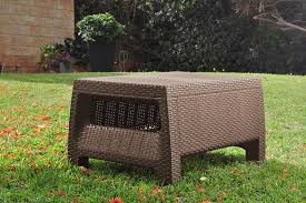 Patio Furniture With Hidden Ottoman by Amazon Com Keter Corfu Coffee Table Modern All Weather Outdoor