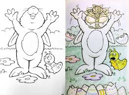 Innocent Childrens Coloring Book Pages Defaced And Turned Into Something Sinister