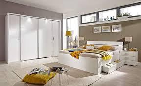 lifestyle4living schlafzimmer komplett set in weiß 4 teilig modernes komplettset mit dreh schwebetürenschrank bett und nachtschränken