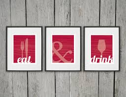 Dining Room Prints Wall Art EAT DRINK Fork Knife Spoon