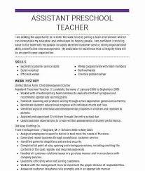 Assistant Preschool Teacher Resume Sample