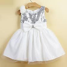 white knee length silver sequin flower girl dresses girl