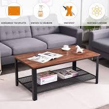 costway couchtisch 2 etagen sofatisch mit metallgestell beistelltisch für wohnzimmer balkon flur kaffeetisch im industriedesign braun und schwarz