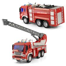 Set Of 2 Rescue Fire Engine Truck Toy With Lights Sounds 1/16 Light ...