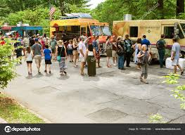 100 Food Trucks In Atlanta People Stand Line At During Festival Stock