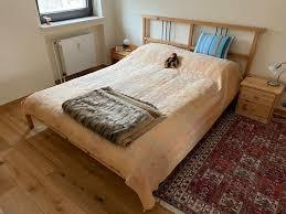 ikea bett 160 cm mit ikea matratze und nachtschränkchen in