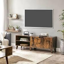 vasagle tv schrank fernsehtisch mit 2 türen tv regal für fernseher bis zu 60 zoll fernsehschrank mit verstellbaren ablagen für wohnzimmer