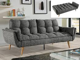 canapé en l convertible canapé convertible en tissu noir gris ou ovila