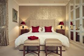 BedroomCalm Traditional Master Bedroom Decorating Ideas With Cream Headboard Also Red Cone Table Lamp