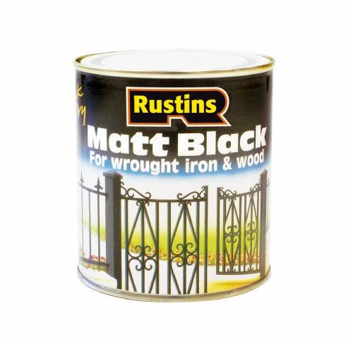 Rustins Quick Dry Wrought Iron & Wood Paint - Matt Black, 1L