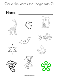 Circle The Words That Begin With G Coloring Page