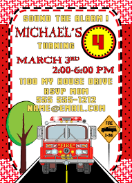 Fire Engine Birthday Party Invitations Free Car And Truck Envelopes ...