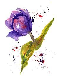 Single Purple Tulip Watercolor on Arches 140 lb Hot Press 5 x 7
