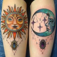 Gothic Sun And Moon Tattoos