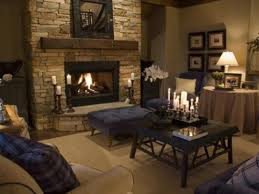 Living Room Pretty Modern Rustic With Fireplace And Nice Wall Stone Grey