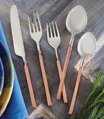 Black Wooden Spoon And Fork Wall Decor by Hammered Copper Flatware Set 5 Pcs For The Home Pinterest
