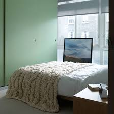Bedroom With Mint Green Painted Cupboards