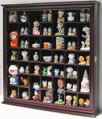 Collectible Display Case Wall Curio Cabinet Shadow Box Solid Wood Glass Door Cherry