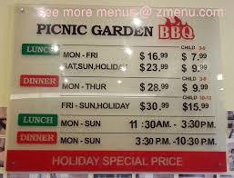line Menu of Picnic Garden Restaurant Edison New Jersey