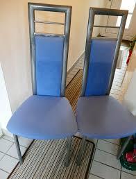 4 küchenstühle esszimmerstühle blauer bezug mit metallgestell