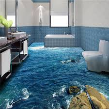 Modern Floor Painting HD Blue Sea Reef Scenery Waterproof Bathroom Kitchen Balcony PVC Wall Paper Self